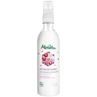 MELVITA - Lait Fraîcheur Démaquillant Nectar de Roses