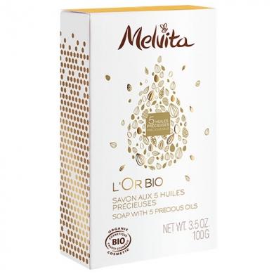MELVITA - Savon au Cinq Huiles Précieuses - L'Or Bio