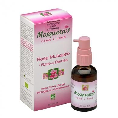 MOSQUETA'S - Huile de rose musquée Bio enrichie en huile essentielle de rose de Damas Bio