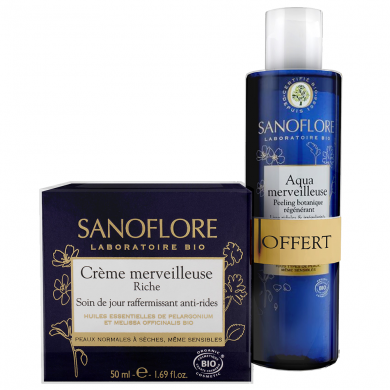 SANOFLORE - Duo crème merveilleuse riche + mini aqua merveilleuse offerte