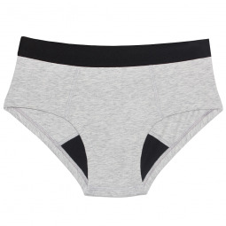 Shorty menstruel gris en coton bio - Brief - S
