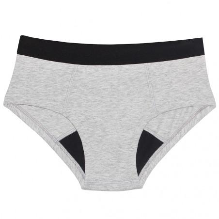 Shorty menstruel gris en coton bio - Brief
