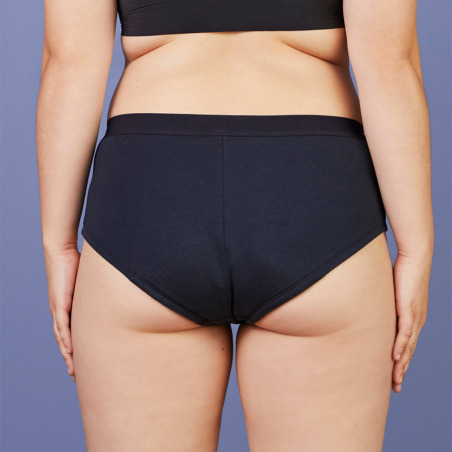 Shorty menstruel noir en coton bio - Super Brief - Flux important