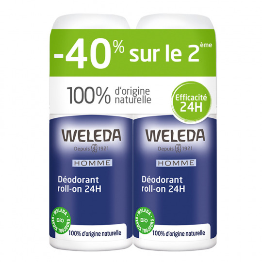 Duo déodorants roll-on 24h homme