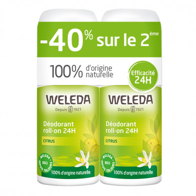 WELEDA - Duo déodorants roll-on 24h citrus