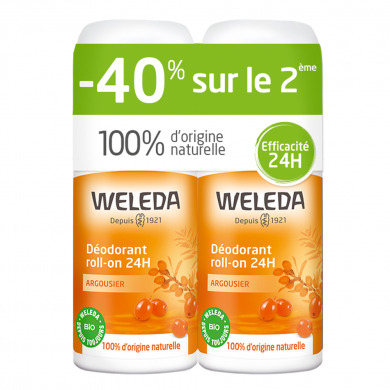 WELEDA - Duo déodorants roll-on 24h argousier