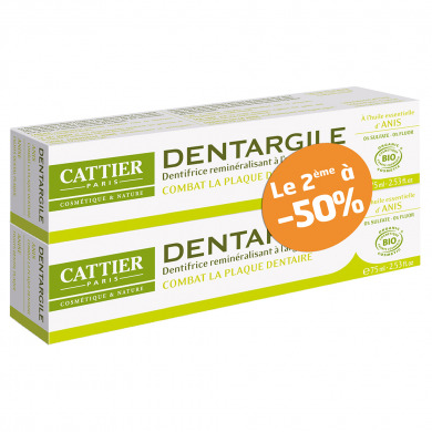 CATTIER - Duo dentargile anti-tartre anis