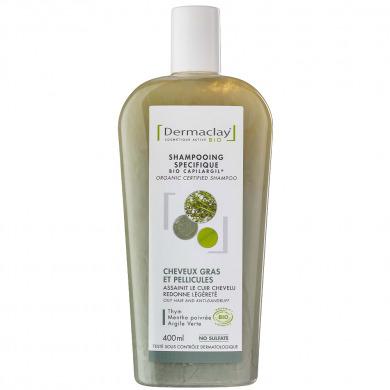 DERMACLAY - Shampooing spécifique cheveux gras et pellicules